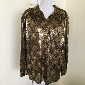 Vintage Impressions Semi Sheer Gold Button Up Top
